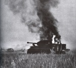 German tank Tiger burning